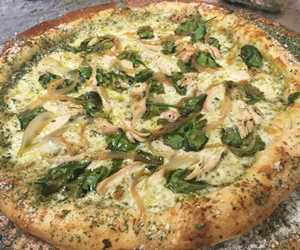 Create your own pie: Keep it simple or go wild! This is Spinach, Chicken, & Caramelized onions. Yum!